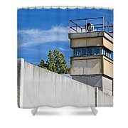 Berlin Wall Memorial A Watchtower In The Inner Area Shower Curtain