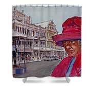 Bermuda Lady In Red And Cop Shower Curtain