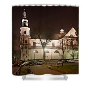 Bernandine Church At Night In Krakow Shower Curtain