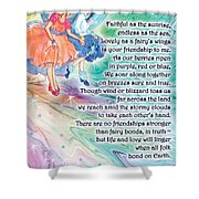 Berry Fairy Friends Poem Shower Curtain