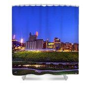 Best Minneapolis Skyline At Night Blue Hour Shower Curtain