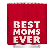 Best Moms Card- Red- Two Moms Mother's Day Card Shower Curtain