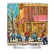 Best Sellers Original Montreal Paintings For Sale Hockey At Beauty's By Carole Spandau Shower Curtain