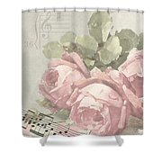 Best Wishes Vintage Roses Card  Shower Curtain