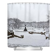 Bethesda Fountain In Central Park Shower Curtain by Susan Candelario