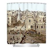 Bethlehem Manger Square 1900 Shower Curtain