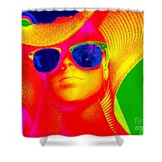 Betsy In Blue Sunglasses Shower Curtain