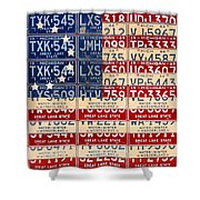 Betsy Ross American Flag Michigan License Plate Recycled Art On Red Board Shower Curtain