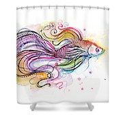 Betta Fish Watercolor Shower Curtain