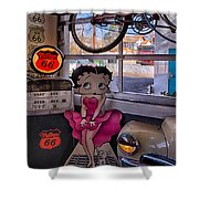 Betty Boop At Albuquerque's 66 Diner Shower Curtain