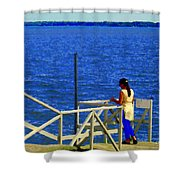 Between Sky And Sea Lachine Canal Viewing Pier Picturesque Water Scenes Montreal Art Carole Spandau Shower Curtain