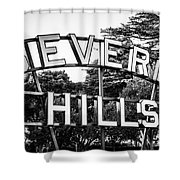 Beverly Hills Sign In Black And White Shower Curtain