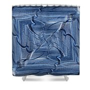 Beyond The Barrier Blues Shower Curtain
