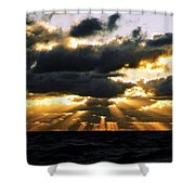 Crepuscular Biblical Rays At Dusk In The Gulf Of Mexico Shower Curtain