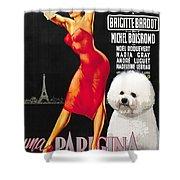 Bichon Frise Art - Una Parigina Movie Poster Shower Curtain