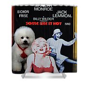 Bichon Frise Art- Some Like It Hot Movie Poster Shower Curtain