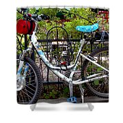 Bicycle At St Francis Cafe Shower Curtain