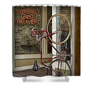Bicycle Attached To Wall Outside Of Fast Food Restaurant Shower Curtain
