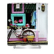 Bicycle By Antique Shop Shower Curtain