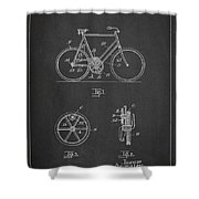 Bicycle Gear Patent Drawing From 1922 - Dark Shower Curtain