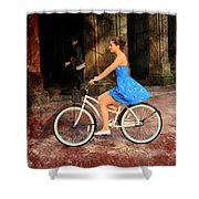 Bicycle Girl 1c Shower Curtain