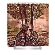 Bicycle In The Park Shower Curtain