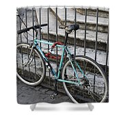 Bicycle Is Chained To A Fence Shower Curtain