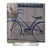 Bicycle Leaning On A Wall Shower Curtain