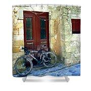 Bicycle Of Santorini Shower Curtain