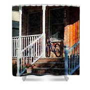 Bicycle On Porch Shower Curtain