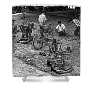 Bicycle Repair In Amarapura Shower Curtain