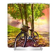 Bicycle Under The Tree Shower Curtain