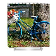 Bicycle With Basket Of Flowers Shower Curtain