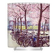 Bicycles Under The Blooming Trees. Pink Spring In Amsterdam  Shower Curtain