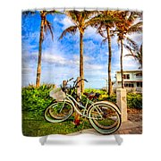 Bicycles Under The Palms Shower Curtain