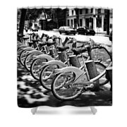 Bicycles - Velib Station - Paris Shower Curtain