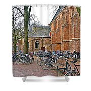 Bicycling To Church Shower Curtain