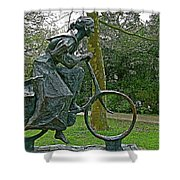 Bicyclist Sculpture In The Park In Leeuwarden-netherlands Shower Curtain