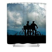 Bicyclists In The Clouds Shower Curtain