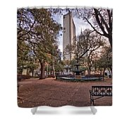 Bienville Spring With Benches Shower Curtain