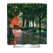 Bienville Sq. Christmas Tree Shower Curtain