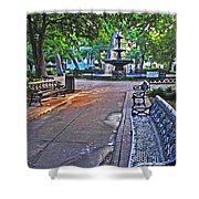 Bienville Square And The Bench 2 Shower Curtain