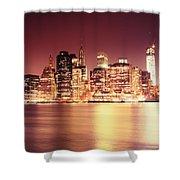 Big Apple - Night Skyline - New York City Shower Curtain
