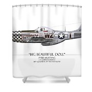 Big Beautiful Doll P-51d Mustang - White Background Shower Curtain
