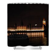 Big Ben And The Houses Of Parliment On The Thames Shower Curtain