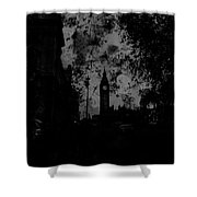 Big Ben Street Black And White Shower Curtain