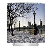 Big Ben Westminster Abbey And Houses Of Parliament In The Snow Shower Curtain