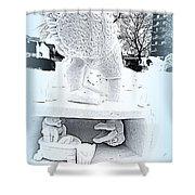 Big Bird Snow Sculpture Shower Curtain