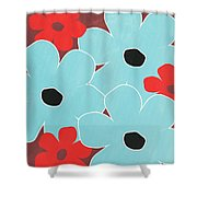 Big Blue Flowers Shower Curtain