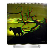 Big Cat Silhouette -  Use Red-cyan 3d Glasses Shower Curtain